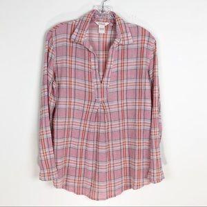 Sundance Pink Cotton Crepe Popover Tunic Small